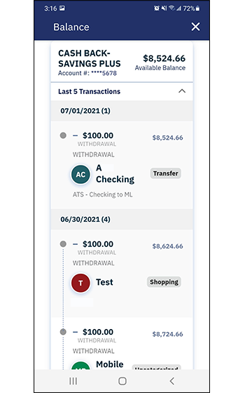 Sneak Peek screen shows balance of an account and five most recent transactions