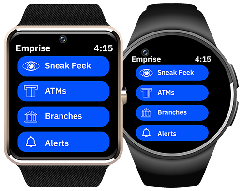two smartwatches are side-by-side with four blue elongated circles showing wearable banking options