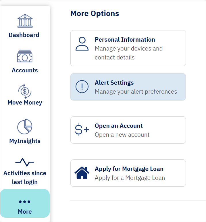 screenshot from online banking shows a blue rounded rectangle over the more button and the alert settings button highlighted in light blue