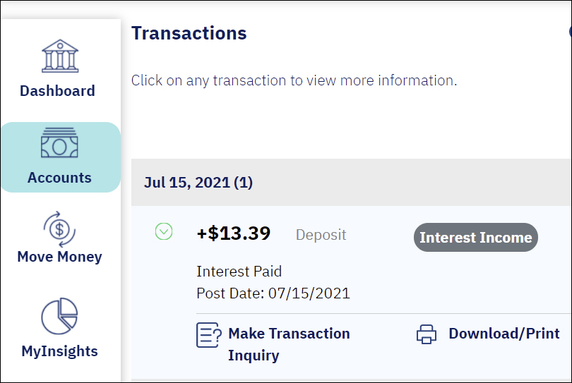 screenshot from online banking showing a blue rounded rectangle over the Accounts button and a transaction for 13.39 on the screen