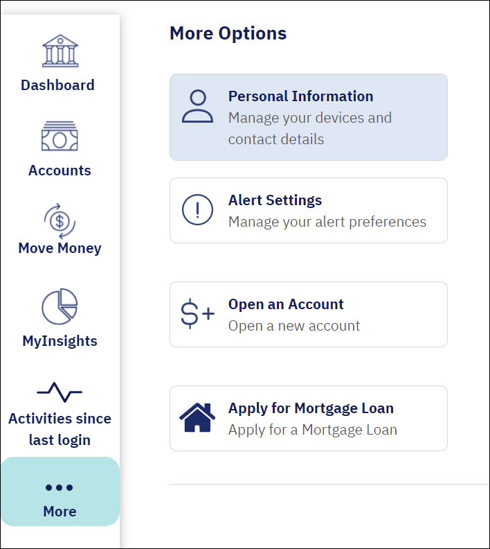 screenshot from online banking shows a blue rounded rectangle over the more button and the personal information settings button highlighted in light blue