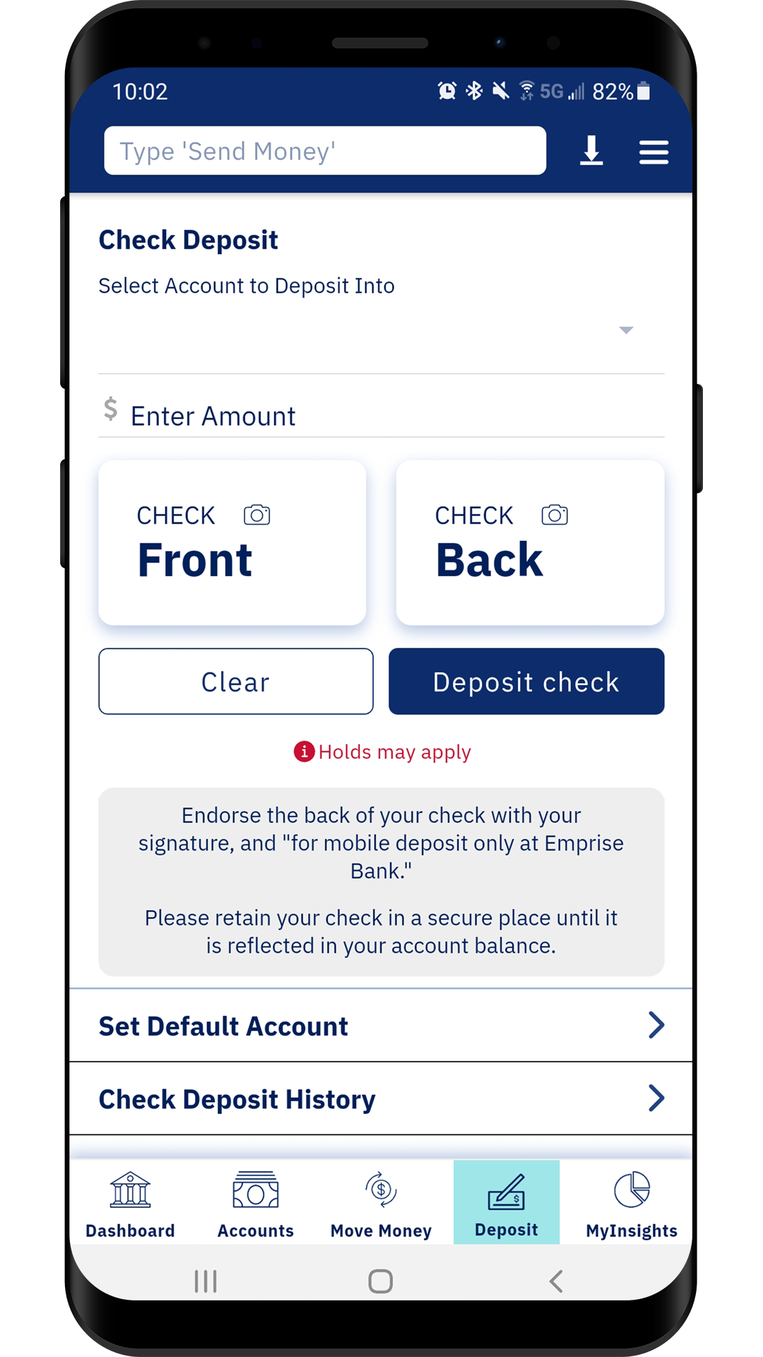 phone screen shows mobile deposit screen with options to photograph front and back of check and deposit into desired account